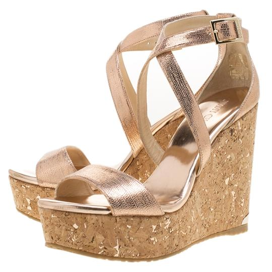 Jimmy Choo Crisscross Strap Metallic Sandals Image 5