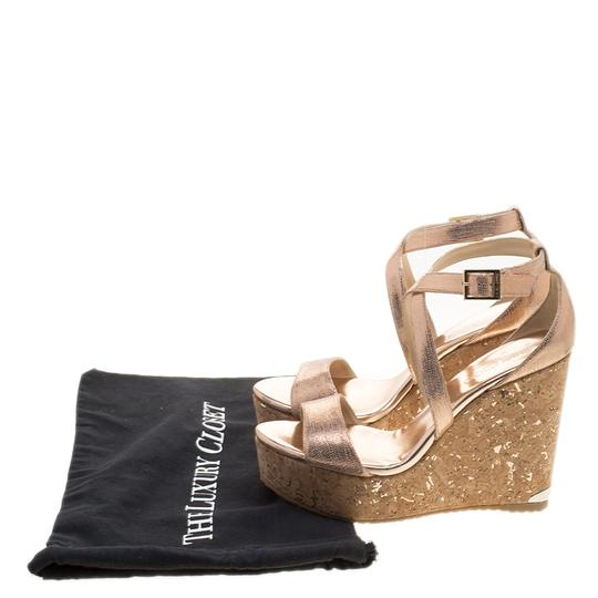 Jimmy Choo Crisscross Strap Metallic Sandals Image 8