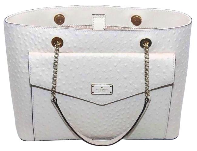 Kate Spade A La Vita Halsey Sftporcln Ostrich Emobssed Leather with Smooth Leather Trim Tote Kate Spade A La Vita Halsey Sftporcln Ostrich Emobssed Leather with Smooth Leather Trim Tote Image 1
