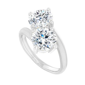 Marco B Prong Set Cubic Zirconia Two Stone Ring 14K White Gold