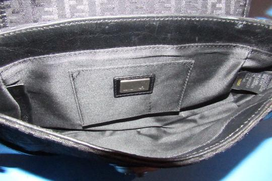 Fendi Hardware Mint Condition Canvas/Leather Compilation Rare Style Satchel in black canvas and black leather with brushed chrome accents Image 2