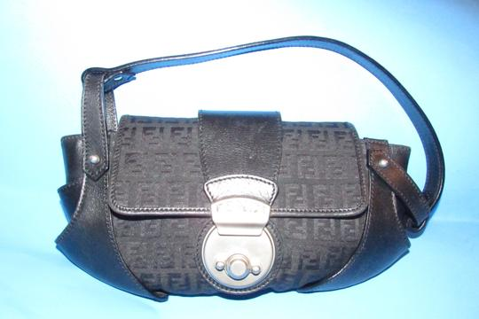Fendi Hardware Mint Condition Canvas/Leather Compilation Rare Style Satchel in black canvas and black leather with brushed chrome accents Image 6