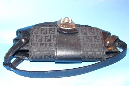 Fendi Hardware Mint Condition Canvas/Leather Compilation Rare Style Satchel in black canvas and black leather with brushed chrome accents Image 9
