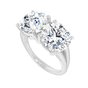 Marco B Glitter with CZ Two Stone Split Shank Ring White Gold