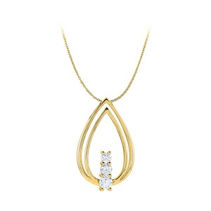 Marco B CZ Double Teardrop Freeform Pendant 14K Yellow Gold
