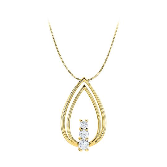 Preload https://img-static.tradesy.com/item/25152528/white-cz-double-teardrop-freeform-pendant-14k-yellow-gold-necklace-0-0-540-540.jpg