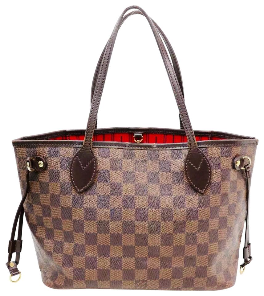 1f4b2f5bc Louis Vuitton Neverfull Pm Damier Ebane Brown Leather Tote - Tradesy
