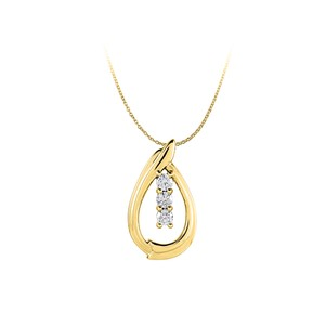 Marco B CZ 3 Stone Freeform Teardrop Pendant 14K Yellow Gold