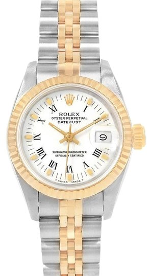 Preload https://img-static.tradesy.com/item/25152635/rolex-white-datejust-steel-yellow-roman-dial-ladies-69173-watch-0-1-540-540.jpg