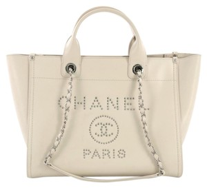 8056287232f1 Chanel Deauville Chain Studded Small Off White Caviar Tote - Tradesy