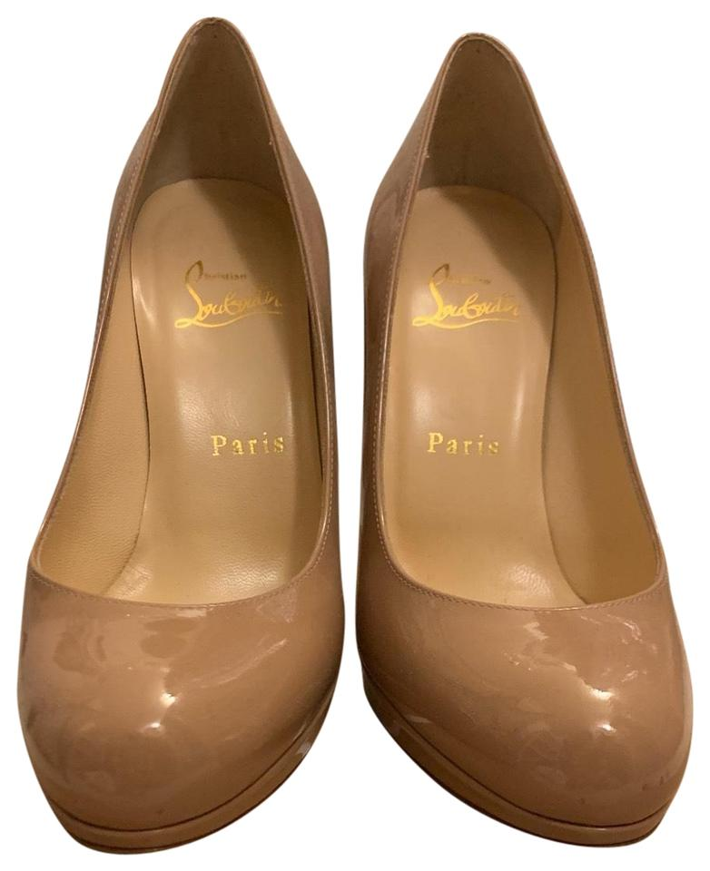 5ffd3a64842f Christian Louboutin Nude - Patent Simple Pump 120 Platforms Size US ...