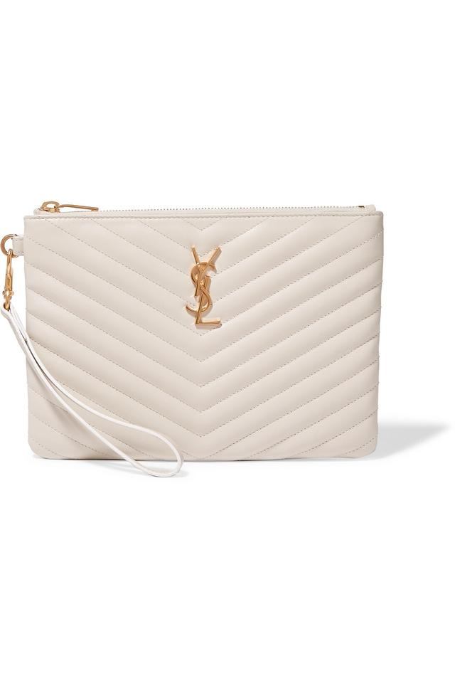5b45935b98 Saint Laurent - Monogram Quilted Clutch White Leather Wristlet - Tradesy