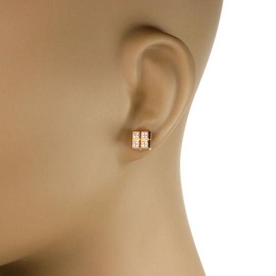 Chopard Diamond Ice Cube 18k Yellow Gold Square Stud Earrings Image 1