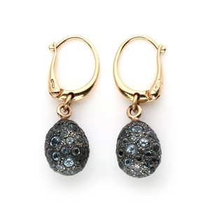 Pomellato Tabou Blue Topaz 18k Rose Gold Silver Drop Dangle Earrings