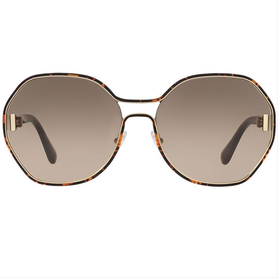 8cbb46bb8bde Prada Dark Havana Frame   Brown Gradient Lens Women Round Sunglasses ...