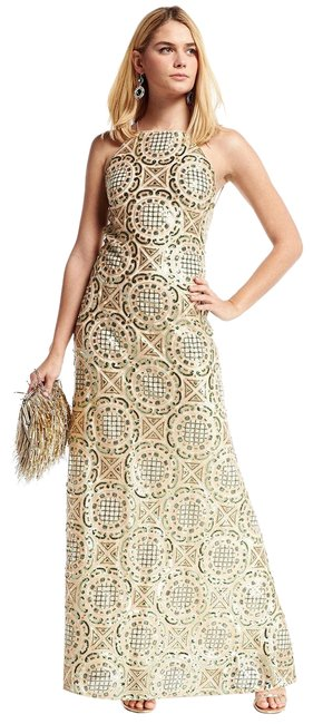 Item - Gunmetal/Green Accent/Gold New York Festival Geo Pattern Sequin Maxi Gown Long Night Out Dress Size 10 (M)