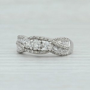 White Gold .87ctw Diamond - 10k Size 8.75 Woven Pave 3-stone Engagement Ring