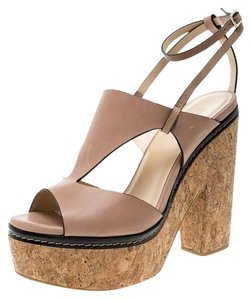 da84220381bf Jimmy Choo Leather Peep Toe Ankle Beige Sandals