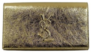 Saint Laurent Ysl Evening Metallic Gold Clutch