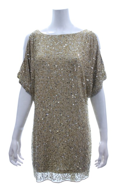 Item - Gold Silk & Sequin Mid-length Night Out Dress Size 4 (S)