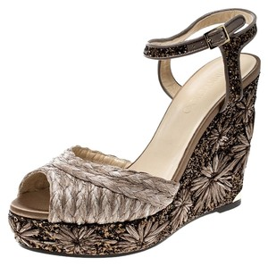 b0d4714112cf Jimmy Choo Embroidered Glitter Leather Brown Wedges