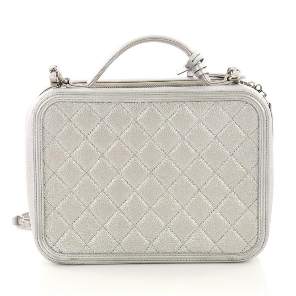 00643c628473 Chanel Vanity Case Filigree Quilted Caviar Medium Silver Leather ...