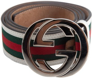 769ca9c7046 Gucci Gucci GG Web Leather Belt with Interlocking G Buckle