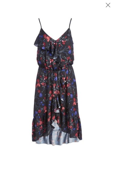 Parker Black Floral Faux Wrap High Low Mid-length Casual Maxi Dress Size 12 (L) Parker Black Floral Faux Wrap High Low Mid-length Casual Maxi Dress Size 12 (L) Image 1