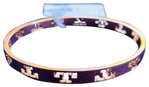 Tory Burch Tory Burch Pierced Logo Rose Gold Bangle Bracelet