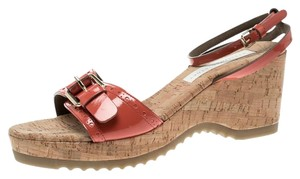 Stella McCartney Patent Leather Wedge Red Sandals