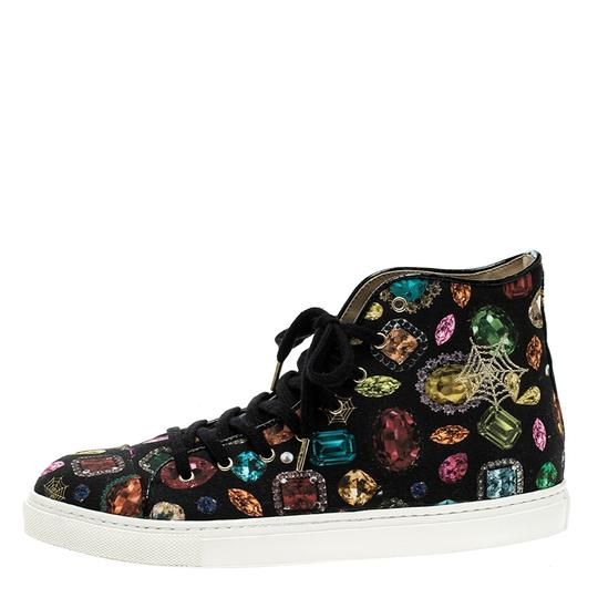 Charlotte Olympia Canvas Leather Multicolor Flats Image 4