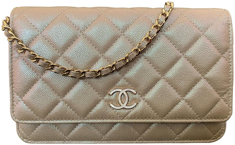 9e6d960b658d Chanel Wallet on Chain Classic Quilted Shiny Gold Chain Iridescent ...