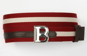 Bally Red Bising 35 Reversible Canvas Stripe Web Brown Leather Logo Belt 100 40 Men's Jewelry/Accessory