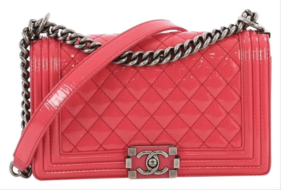 80637b0bf861 Chanel Classic Flap Boy Quilted Patent Old Medium Hot Pink Leather ...