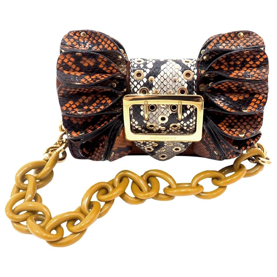 043613d3382 Burberry New Python Buckle Shield Multicoloured Redwood Leather ...