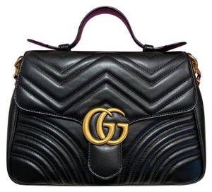 abf4e00d6b7c Gucci Top Handle Marmont Gg Small Chain Shoulder Black Leather Cross Body  Bag
