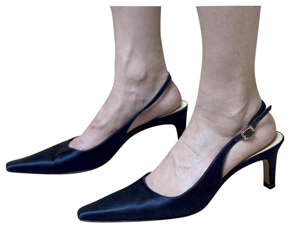 c4288ad2a4 Bruno Magli Slingback Satin Pointy Toe Dyed Navy Formal Image 0 ...