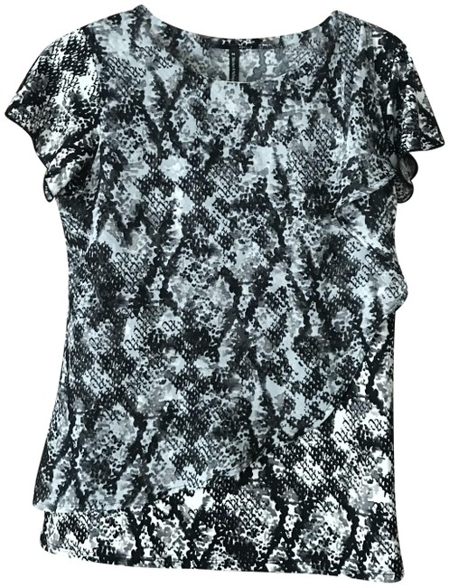 Item - Grey Black Abstract Pull-over Tunic Size Petite 4 (S)