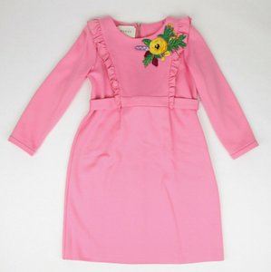 Gucci Pink Jersey W Stretch Dress W/Flower Detail 6 Years 458293 5566 Groomsman Gift