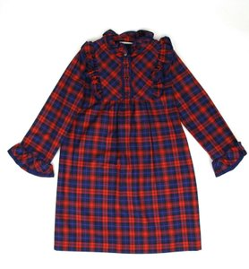 Gucci Cobalt/Red/Navy Red/Navy Checkered Cotton Flannel Dress 6 Years 433949 4131 Groomsman Gift