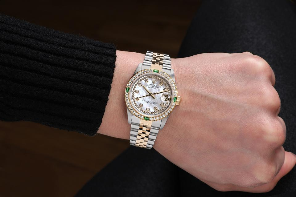 Rolex Two Tone Datejust 31mm White Mop String Diamond Dial/Bezel 68273 Watch