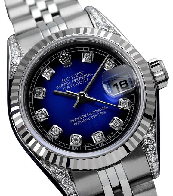 Rolex Stainless Steel Ladies Datejust 26mm Blue Vignette Diamond Dial/Lugs 69174 Watch Rolex Stainless Steel Ladies Datejust 26mm Blue Vignette Diamond Dial/Lugs 69174 Watch Image 1
