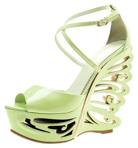 Le Silla Patent Leather Sandal Green Wedges