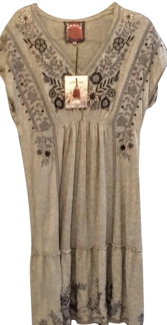 Item - Gray. Blue Embroidery Lei Lei Smocked Tiered Mid-length Casual Maxi Dress Size 8 (M)