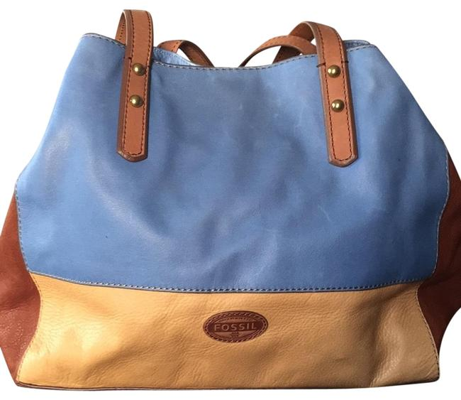 Item - Three-tone Sky Blue Tan and Cognac Leather Tote