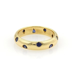 Tiffany & Co. Etoile Sapphire 18k Yellow Gold 4mm Wide Band Ring