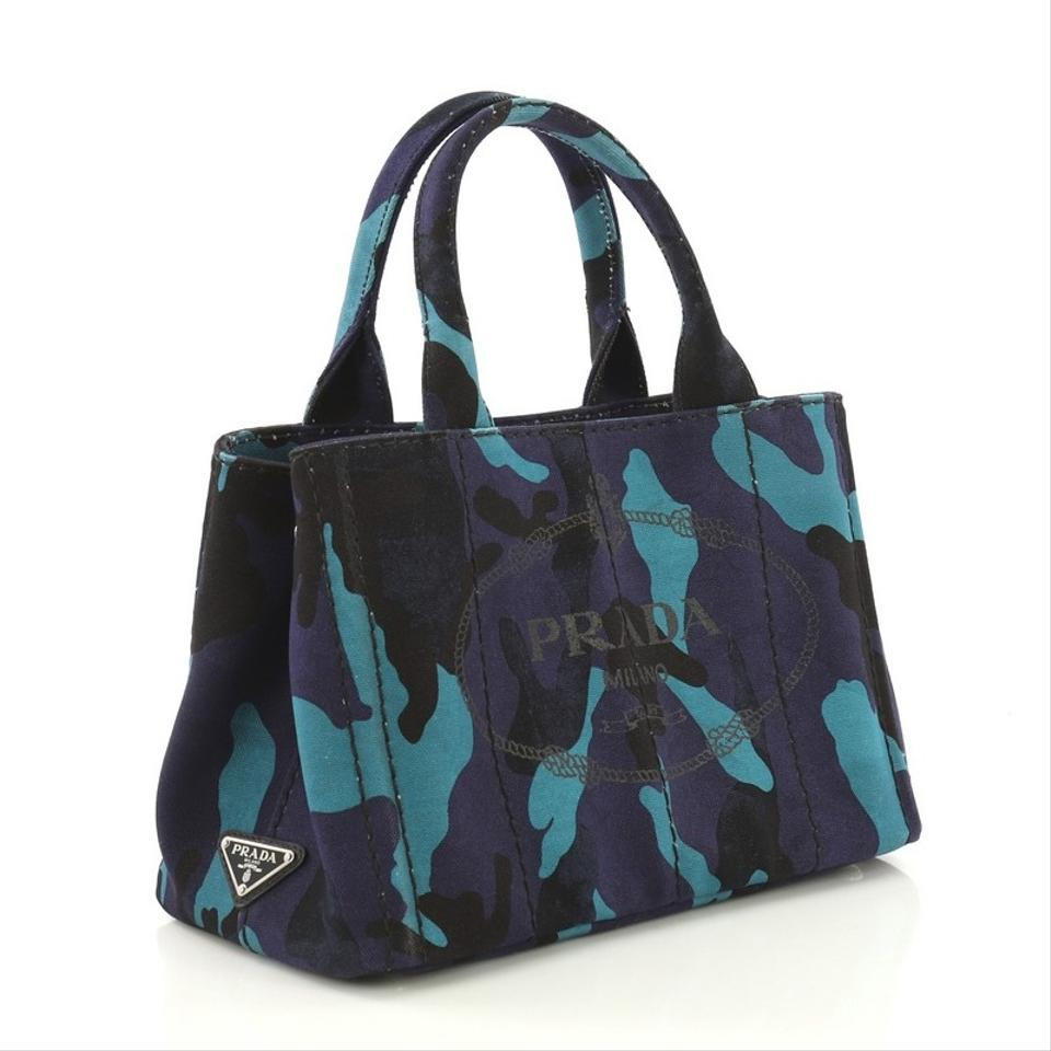 b0510bf625fc Prada Canapa Convertible Printed Mini Navy Blue Canvas Tote - Tradesy