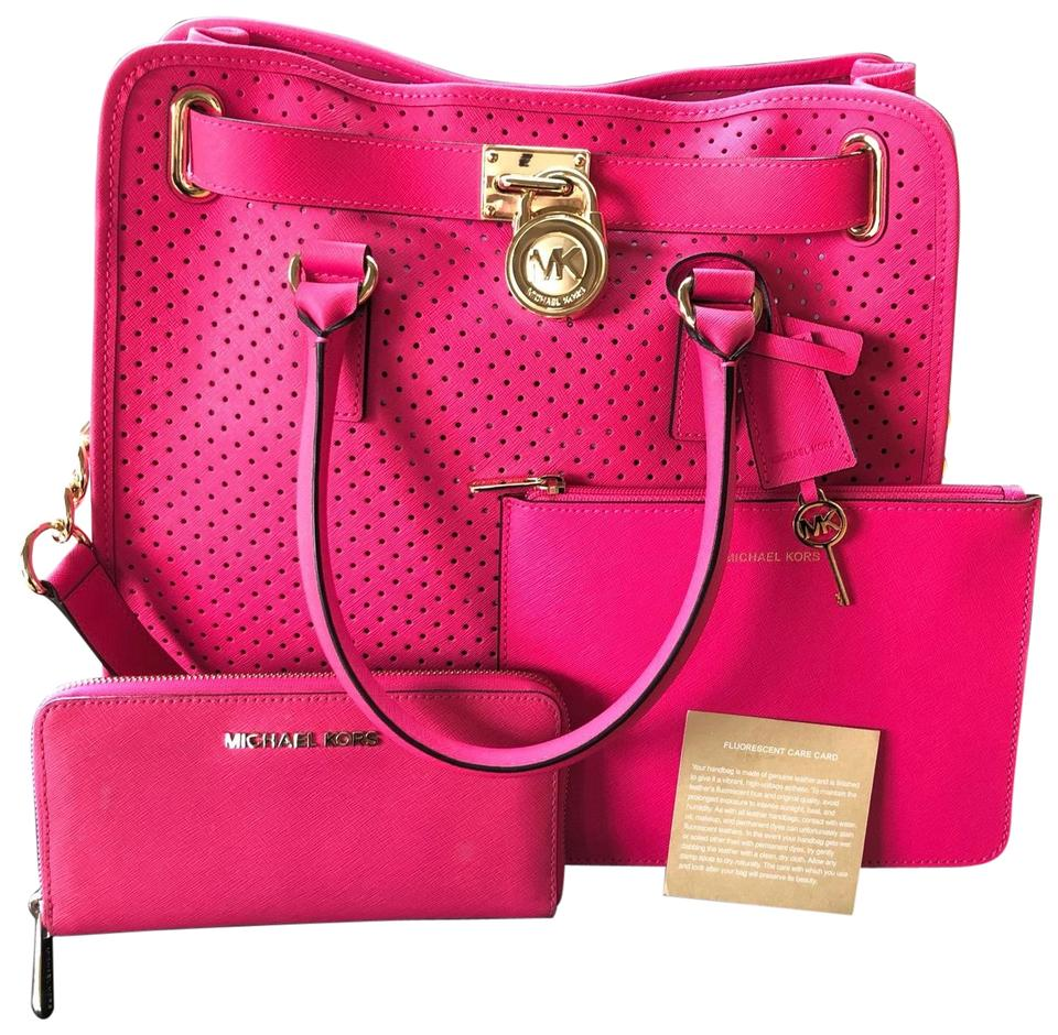 c9d3dced8c5662 Michael Kors Perforated Hamilton & Wallet Hot Pink Leather Tote ...