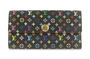 a0c5e38ff928 Louis Vuitton Louis Vuitton Black Monogram Multicolor Sarah Wallet