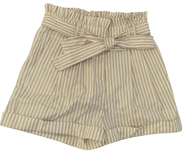 Item - Nude Ruffle High Waist Pleated Woven Cream Striped Cuffed Shorts Size 4 (S, 27)